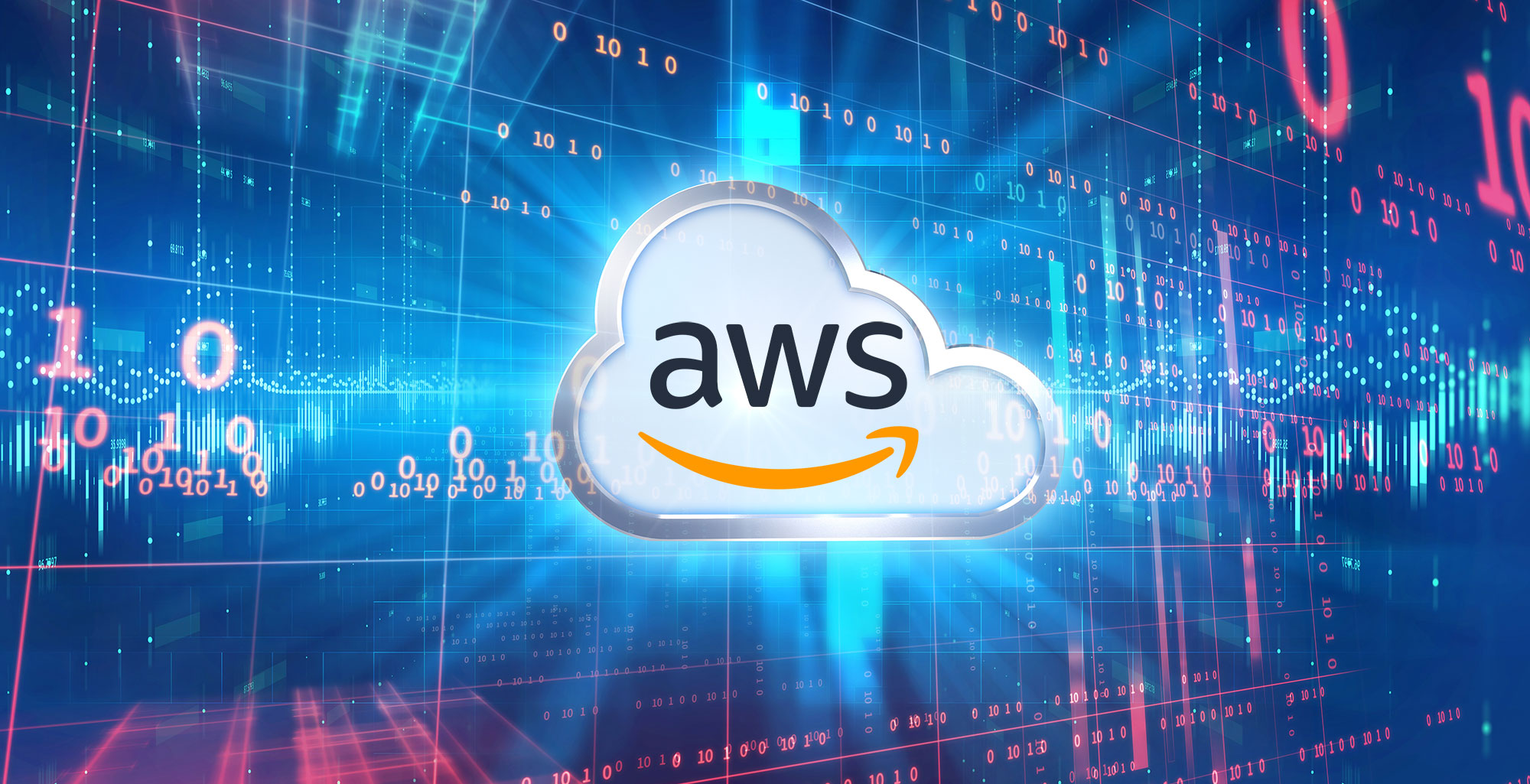 AWS-powered Artificial Intelligence logo on a digital screen of numbers