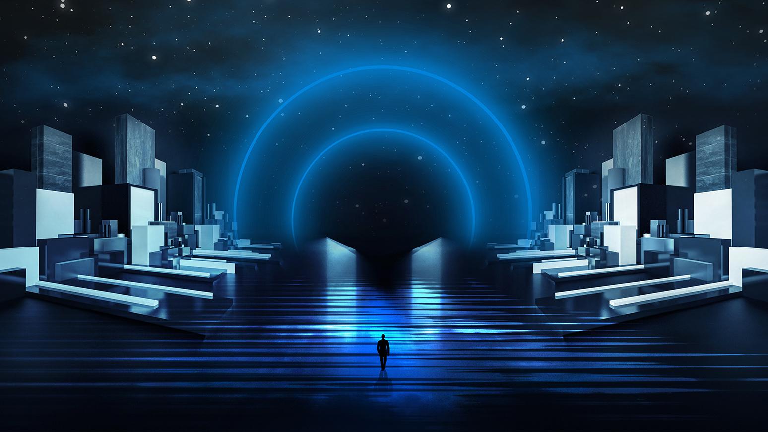 future of events person standing in futuristic area