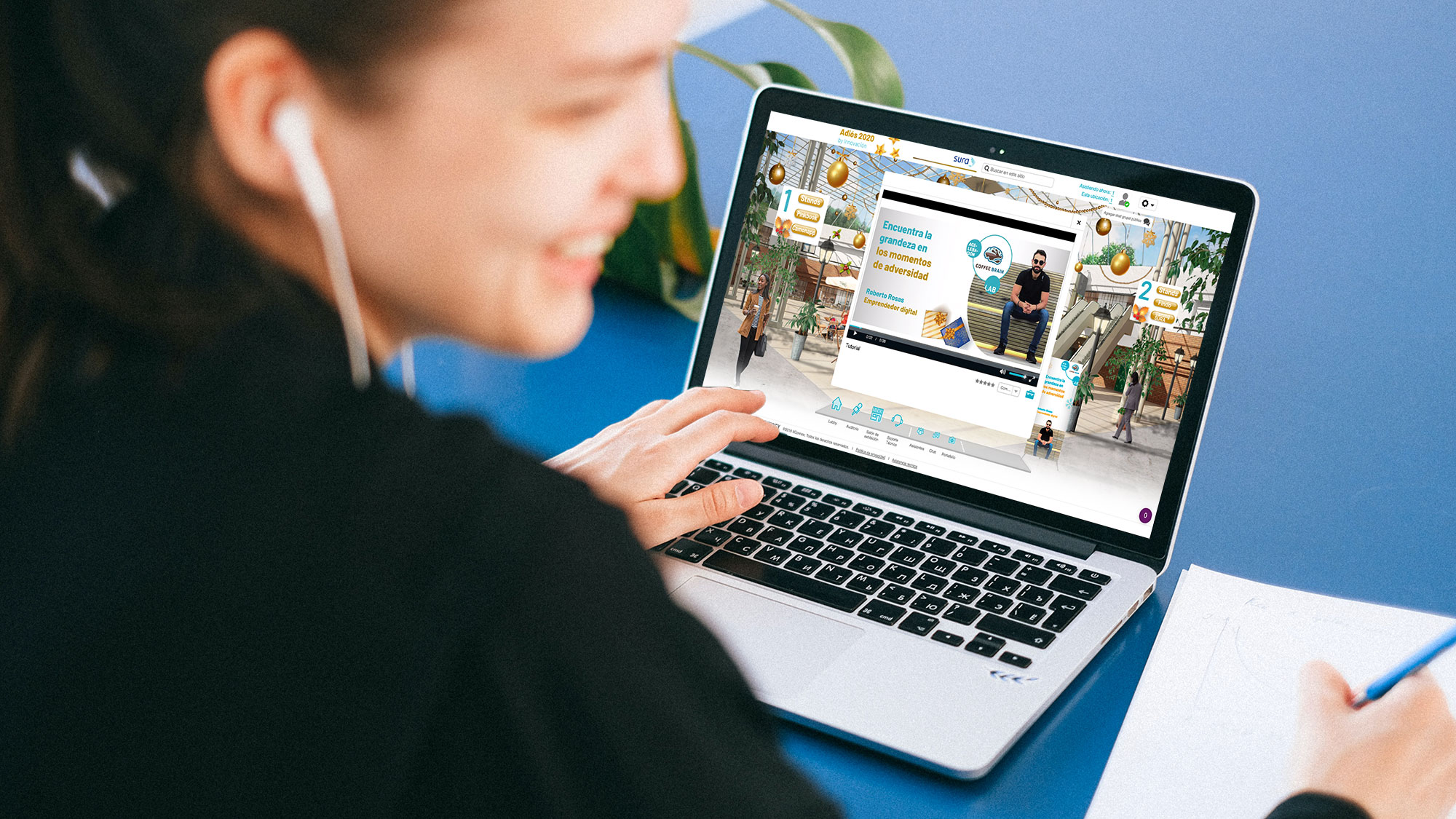 destinos case study girl on laptop at virtual event