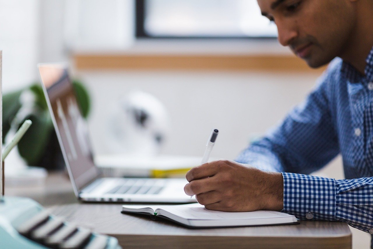 employee at virtual meeting
